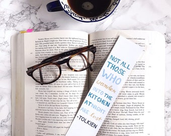 Paper Bookmark. Literary Gift. English Teacher. English Major Gift. Book Lover. Funny Bookmarks. Not all Those Who Wander Quote. Tolkien.