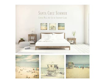 Santa Cruz Photography. Vintage Beach Art. Canvas Wall Art Set. California. Summer. Pastel. Blue. Tan. People on beach. Ocean. Home Decor