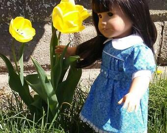 1930s Feedsack Dress for Kit Ruthie American Girl 18 Inch My Twinn Dolls