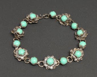 "Turquoise Sterling Bracelet Vtg Taxco C. 1950s Size 6.5"" Long"