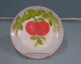 Depression Glass Petalware Salad Plate with Apples, Fired On Red Trim