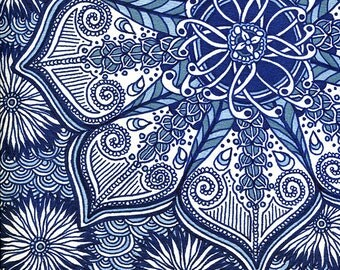 Blue Flowers - Original Psychedelic Mandala Illustration by Amanda Lanford