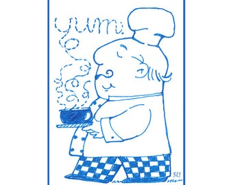 Aceo Print Whimsical Chef for Kitchen Decor