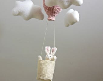 Baby Mobile, Bunny Baby Mobile, Hot Air Balloon Mobile, Bunny Nursery Mobile, Traveler Nursery, Hanging Mobile, Cloud Mobile, Animal Mobile,