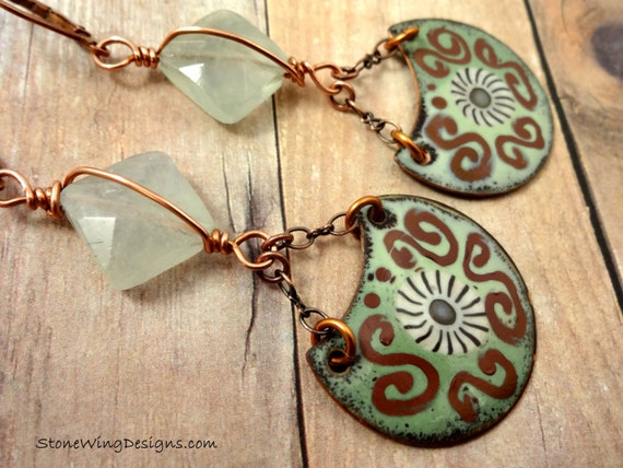 Green and Brown Artisan Enamel and Faceted Prehnite Earrings One Of A Kind OOAK