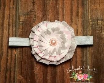 Shabby Chic Chevron Fabric Flower Headband, Chevron Flower Headband, Baby Headband, Infant headband, Shabby Chic Headband, Fabric Flower