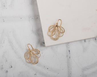 Matte Gold Fan Earrings // Gold Drop Earrings // Simple Gold Earrings // Gifts for her // Bridal Earrings // Classic Gold Earrings