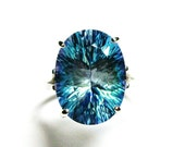 """Topaz, mystic topaz ring, topaz cocktail ring, engagement pink, blue anniversary,  s 7 1/2   """"Casseiopea"""""""