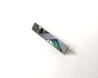 Sterling Silver Tie Bar with Inlay Abalone Shell Mother of Pearl Mens Silver 925 Tie Bar Taxco