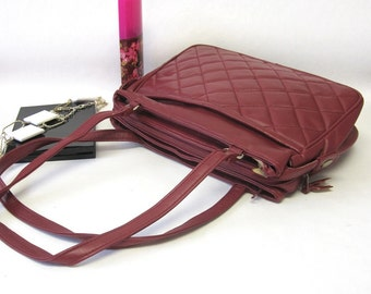 Cranberry Red Handbag Quilted Purse