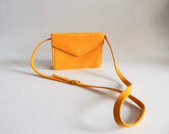 1980s Bruno Magli Yellow Suede and Leather Cross Body Purse Convertible Clutch
