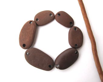 River Stone Beads Mediterranean Beach Stone Links Drilled Natural Stone Rock Beads Diy Jewelry BROWN LINKS 19-29 mm
