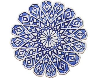 Outdoor Wall Art With Moroccan Design, Garden Decor, Ceramic Tile, Garden  Art,