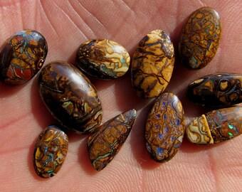 10 stone lot - Australian Koroit Boulder Opal Cabochons -  37 ct total