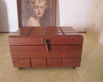 Vintage Wood Jewelry Trinket Box Made in Japan