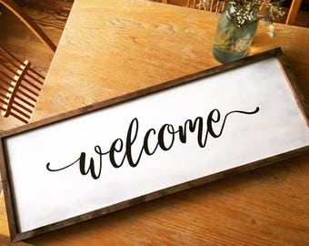Welcome Rustic Wooden Sign With Stained Frame