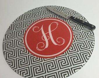 CLEARANCE SALE Custom Cutting Board - Round Glass Cutting Board - Monogrammed Cutting Board - Wedding Gift - Hostess Gift