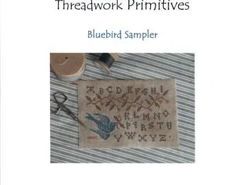 Threadwork Primitives: Bluebird Sampler - Cross Stitch Pattern