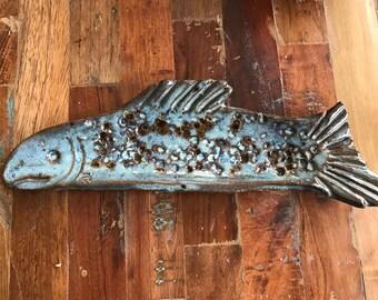 handmade blue fish terra cotta red stoneware ceramic pottery shallow tapas appetizer sushi dish