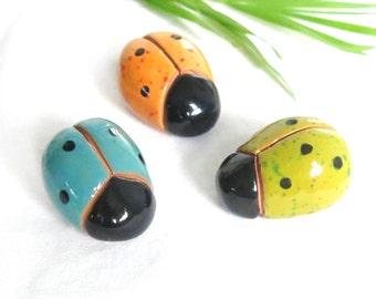 Pottery Ladybug, ONE USA Artisan Sculpted Handmade Ceramic Ladybug, Fairy Garden, Moss Garden Decoration, Fantasy Ladybird, Stocking Stuffer