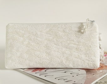 Snow White Clutch for Bride, White Lace Wedding Clutch for Cosmetics