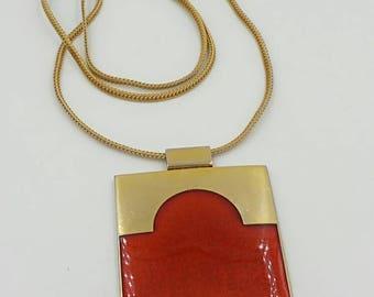 De Passille Sylvestre Quebec Enamel Necklace 1970's Modernist