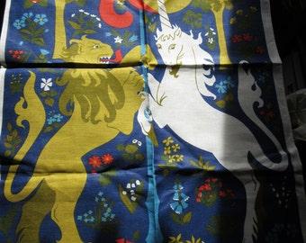 1970s Linen Ulster Tea Towel - Lion and Unicorn - England