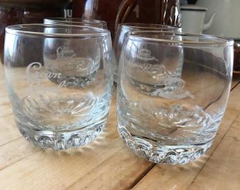 Vintage crown royal etched lo ball set of 4 glasses