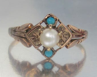 Antique Victorian Pearl and Turquoise Rose Gold Engagement Ring 10K