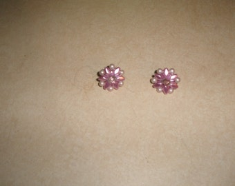 vintage clip on earrings pink lucite bead clusters