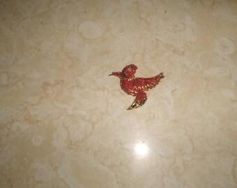 vintage pin brooch goldtone bird colorful beads