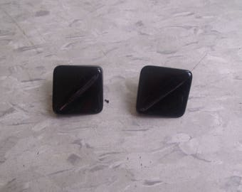 vintage clip earrings black lucite squares