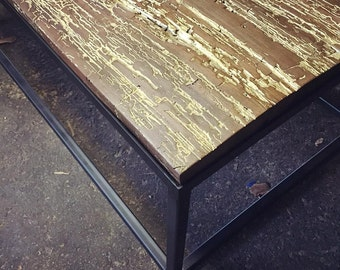 The Garfield Table-Industrial Modern Coffee Table Inlaid with Gold and Reclaimed New Orleans Wood
