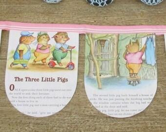 Three Little Pigs Bunting. Kittens Bears Nursery Rhymes Banner. Bedtime Stories Storybook Children Pastel Pink. Goldilocks Golden Book