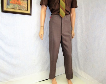"70s ~ 38"" x 31"" Polyester Mens Flares PANTS Disco Taupe Tradition"