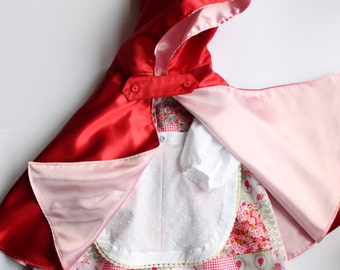 Little red riding hood costume. Sizes 2 and 3 years. Carnival costume. Immediate shipping.