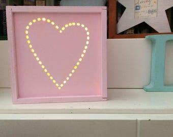 Night light kids heart  nursery decor gift for baby  wooden letters