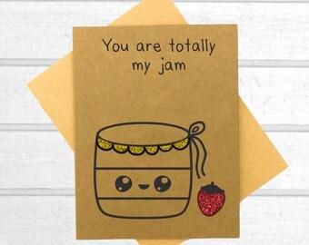 Strawberry Jam Love Card - Valentines Day Card - Boyfriend Card - Kawaii Card - Love Card For Him - Cute I Love You Card - Card for Husband