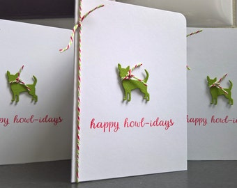 Chihuahua Holiday Cards Set of 5, Dog Christmas Cards Set, Chihuahua Lover Gift, Happy Howlidays Greeting Cards