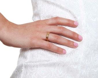 Braided 14K Yellow Gold Wedding Ring - Plain Band Solid Yellow Gold Size 7 Braided Band Sizeable Bridal Jewelry