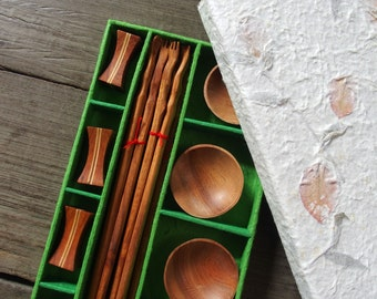 Mulberry Paper Gift Box Set Wooden Chopstick with Chopstick Rest and Sauce Bowl - Set of 4 with Handmade Green Color Box for Wood Lover
