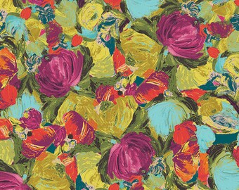 Art Gallery Fabrics - Cactus Flora Berry - Sage - Bari J. - By The Yard