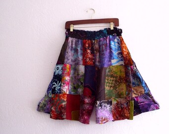 Sale Boho Patchwork Skort. High Waisted  Short Skirt