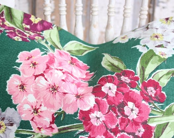 Retro Vintage Mid Century Pink Violet White Floral Pattern Decorative Green Barkcloth Throw Pillow