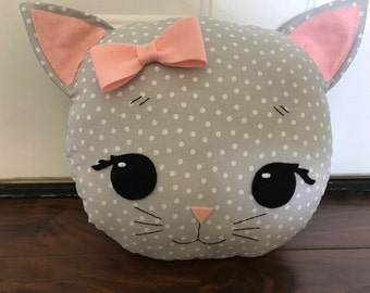 Cat Pillow in Grey Polka Dot