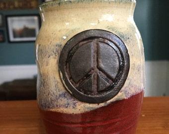 Peace sign ceramic tumbler