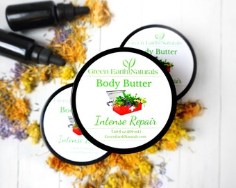 Body Butter Repair- 7.40  fluid ounce glass jar - Organic Body Butter - Shea Butter - Whipped Shea Butter - Vegan Body Butter - Cocoa Butter