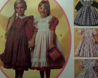 PINAFORE & DRESS Pattern • McCall's 5715 • Girls 4 • Gathered Dress • Puff Sleeve Dress • Party Dress • Childrens Patterns • WhiletheCatNaps