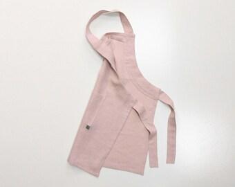 Dusty rose apron for children, Linen kids apron, Girls aprons, neutral light pink apron