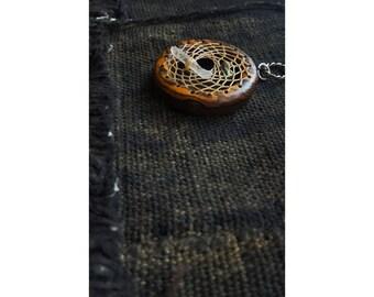 Wheel of Medicine  exotic wood weaved Dreamcatcher hoop necklace